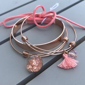 Jewelry - NWOT set of 3 rose gold and pink bracelets